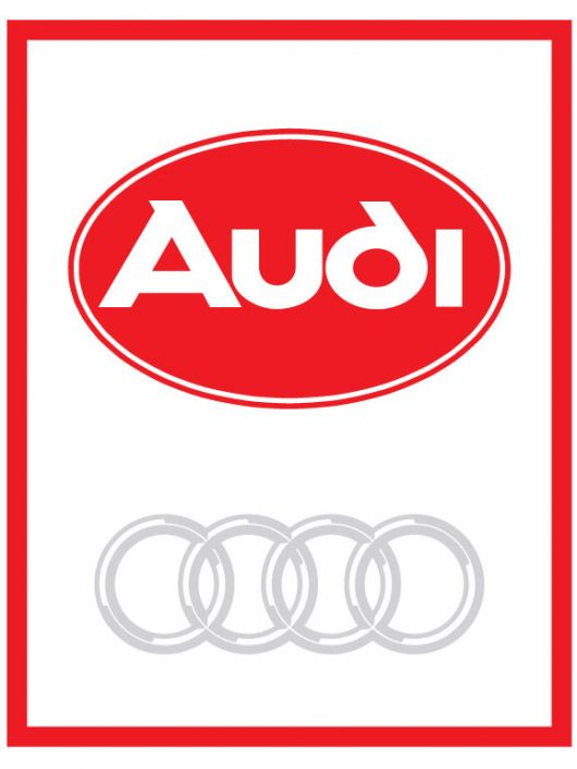 audi oval logo red in box