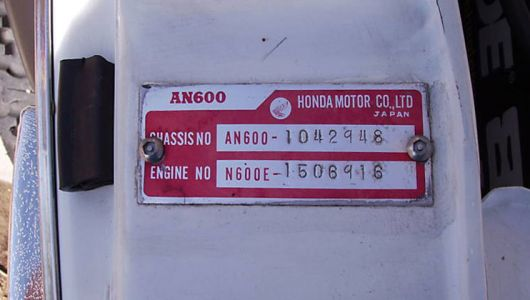 honda an600 plaque 72