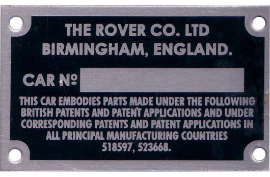 rover p4 p5 chassis plate 63 64