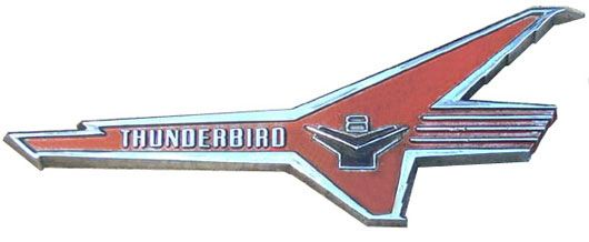 early ford thunderbird tbird v8 red emblem 55 56 57