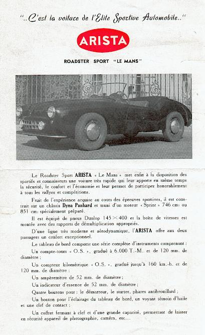 arista roadster sport lemans sell sheet 52