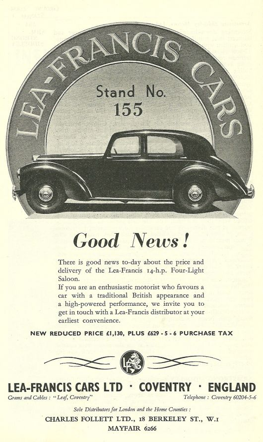 lea francis four light saloon ad