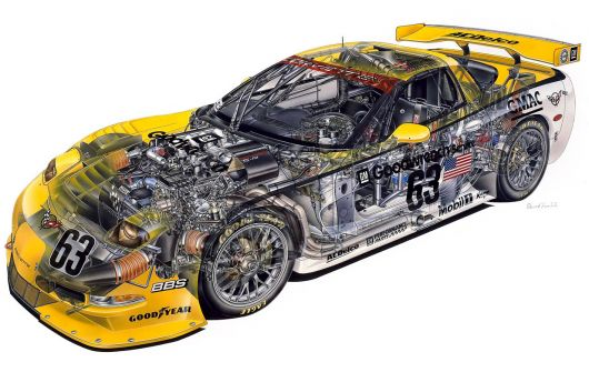 chevrolet corvette c5 r cut away 99
