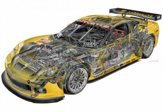 chevrolet corvette c6 r cut away 05