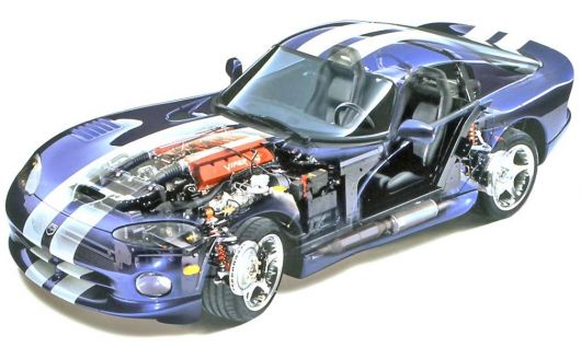 dodge viper gts coupe cut away 96