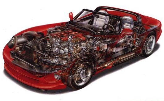 dodge viper rt10 cut away 93