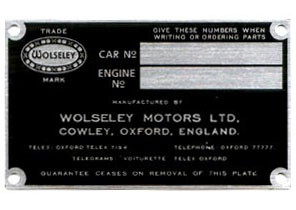 wolseley chassis plate