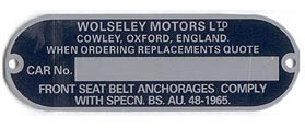 wolseley chassis plate after 65