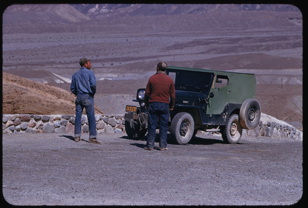 Ford House Wichita Falls March 22, 1955. A couple of natives and a jeep at Zabriskie Point ...