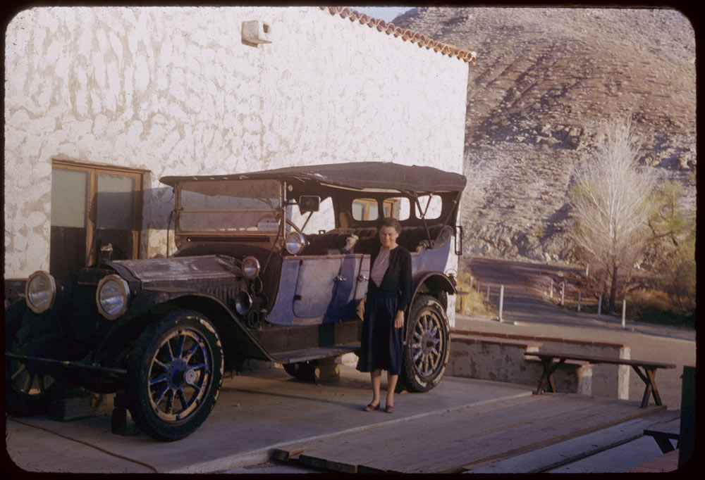 Ford House Wichita Falls March 23, 1955. Jean and ancient Packard auto at Scotty's Castle Death ...