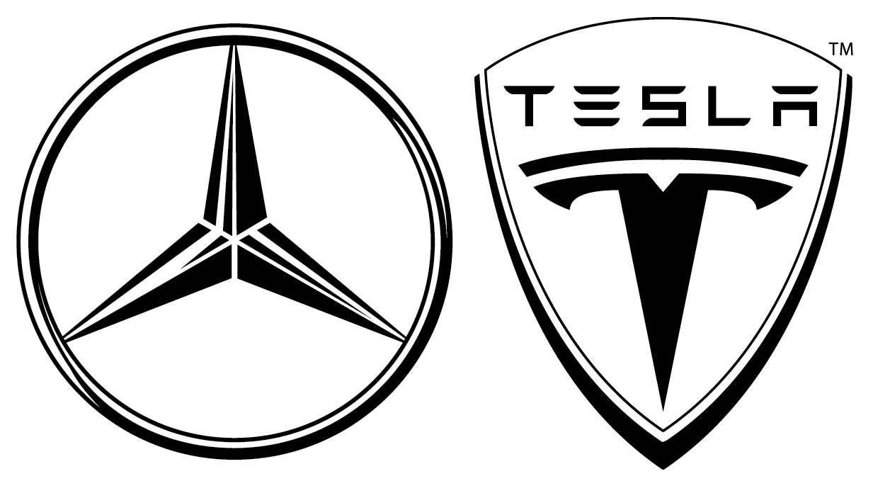 Daimler ag acquires stake of nearly 10 percent of tesla for Mercedes benz logo vector