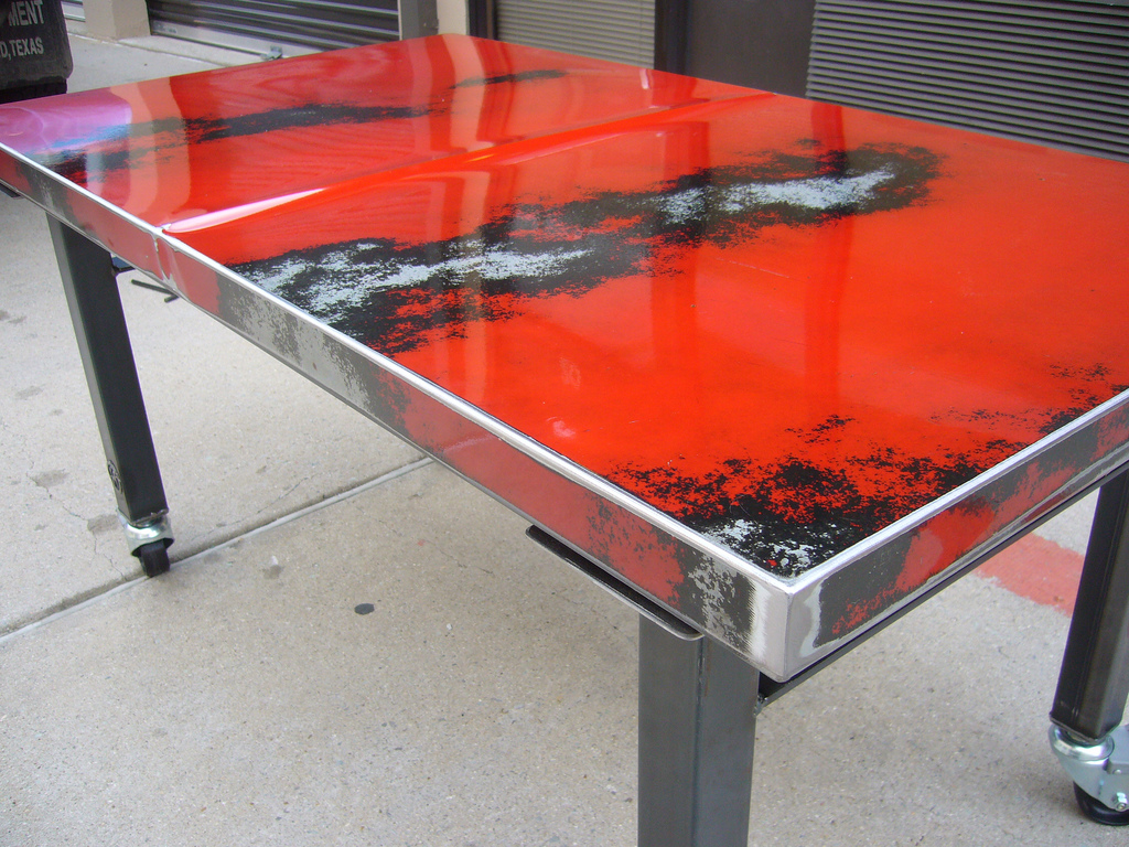 Classic car hood tables cartype for Car part coffee table