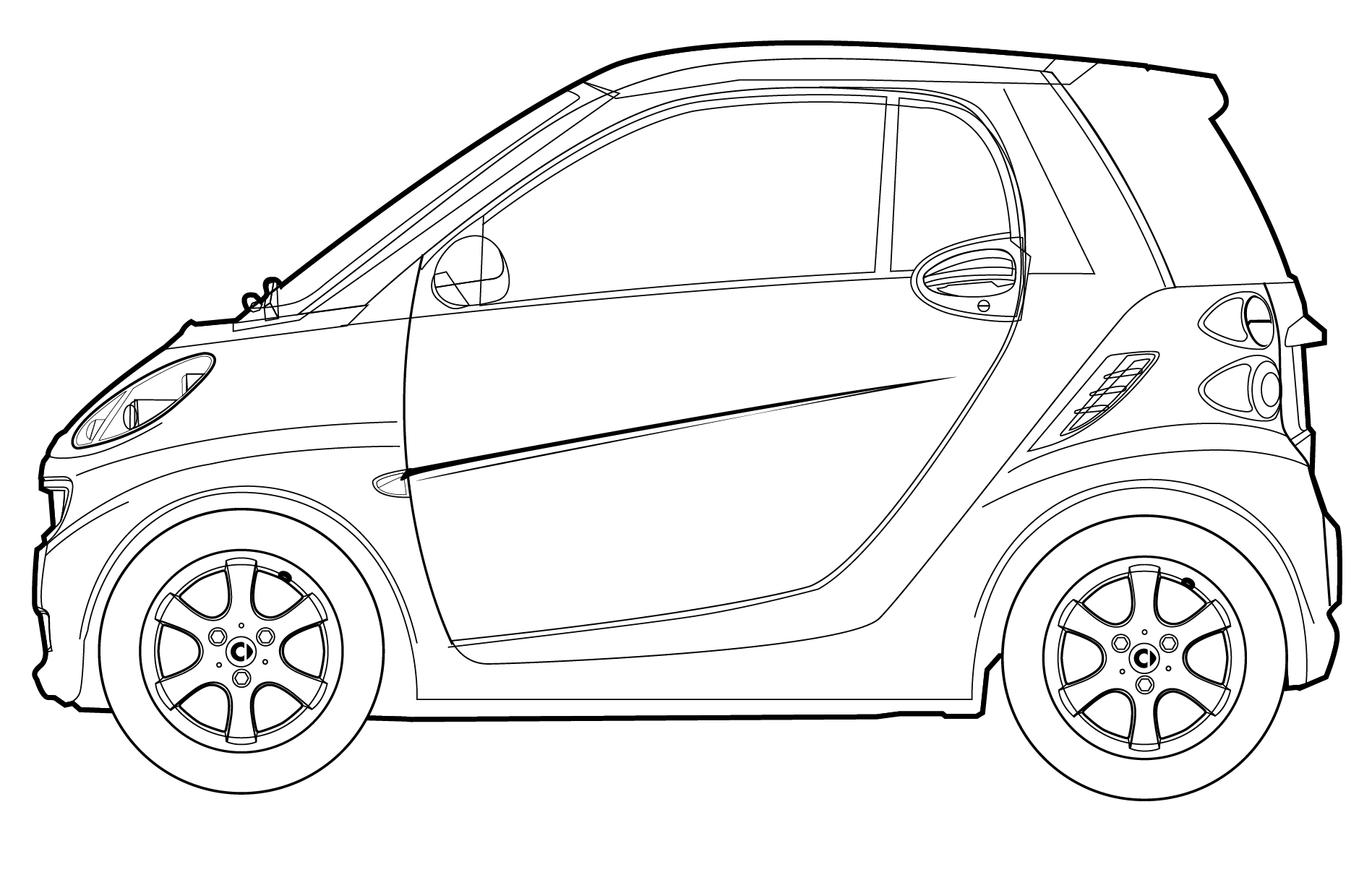 Line Drawing Vehicles : Car line art cartype