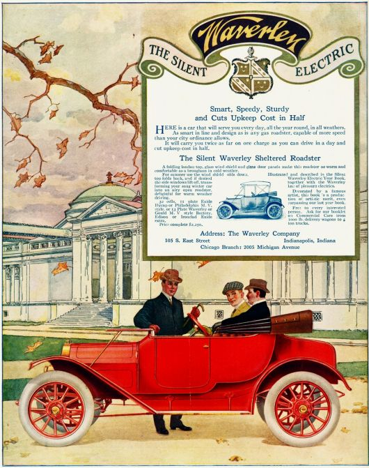 1913 silent waverley electric sheltered roadster