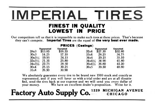 imperial tires ad 1910