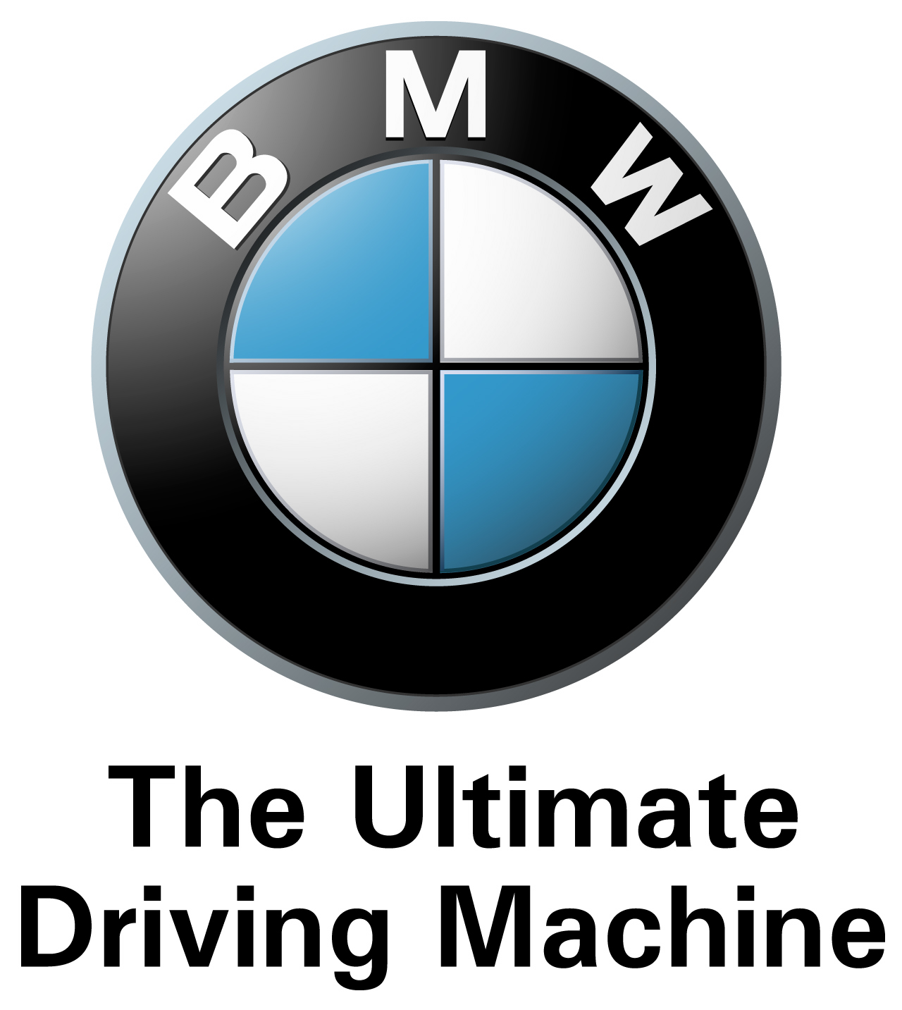 "BMW logo with ""The Ultimate Driving Machine"" tagline."