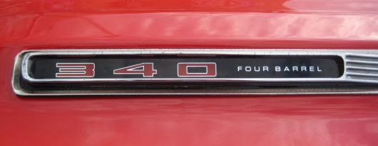 dodge dart 340 four barrel emblem 1 69