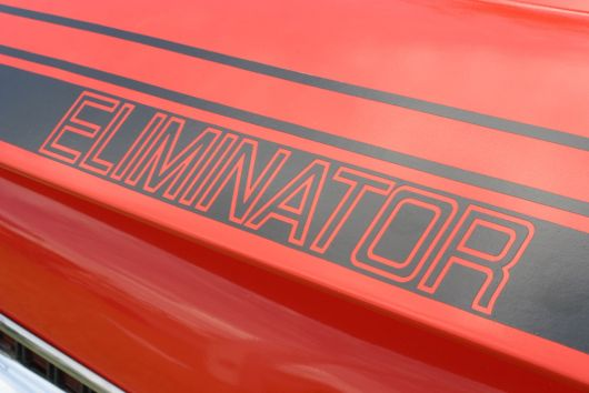 Eliminator decal on rear quarter panel of a 1970 Mercury Cougar Eliminator.