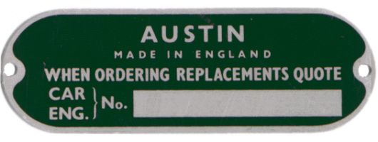 austin healy sprite chassi plate