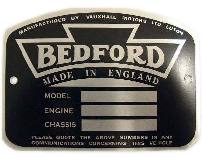 bedford chassis plate
