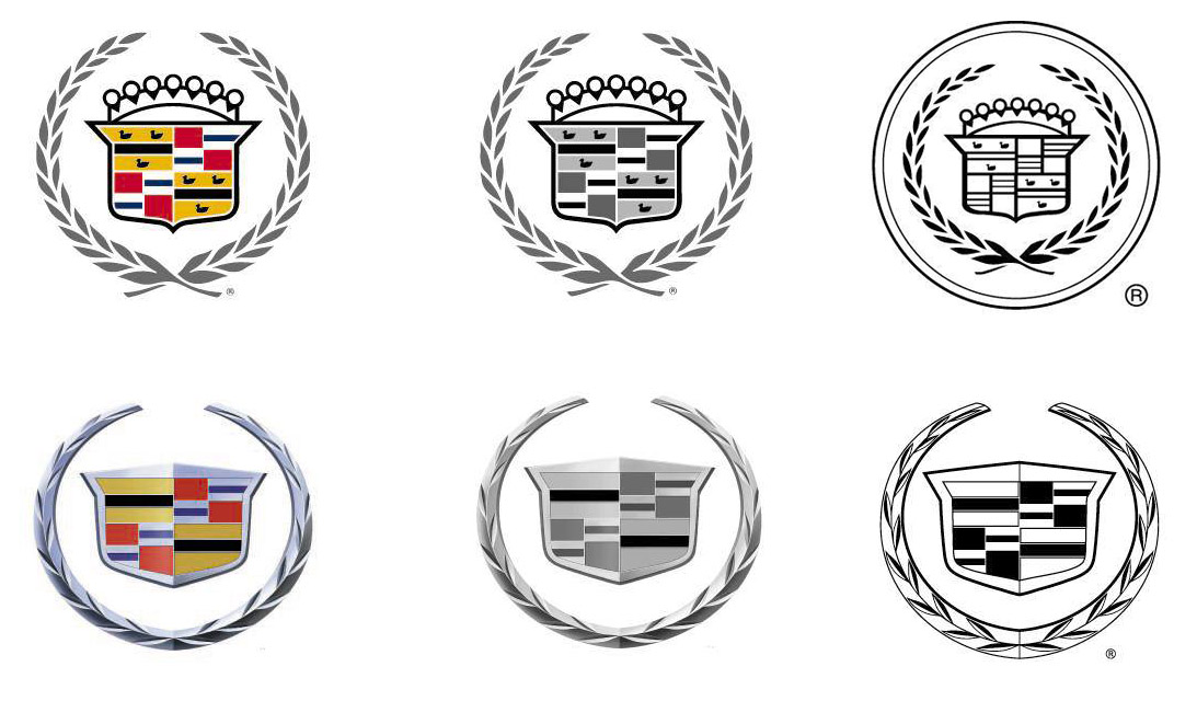 Cadillac logo history from 1906 to 1957. (source: GM)