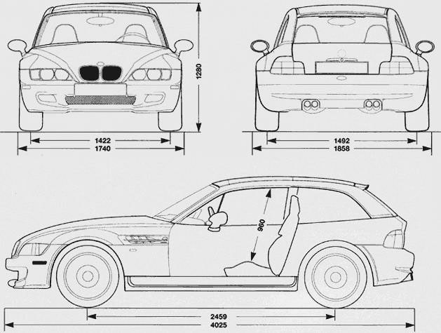 2001 BMW M Coupe dimensions.