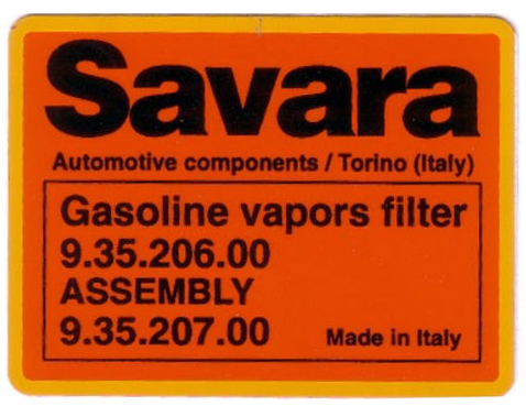 savara vapor canister sticker 63x47mm
