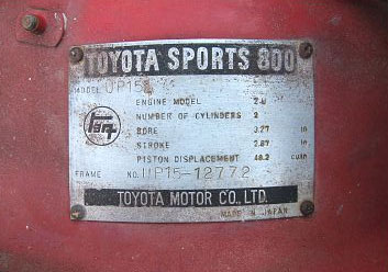 toyota sports 800 plaque