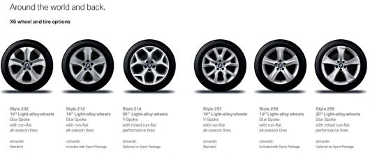 bmw x6 wheel options 09