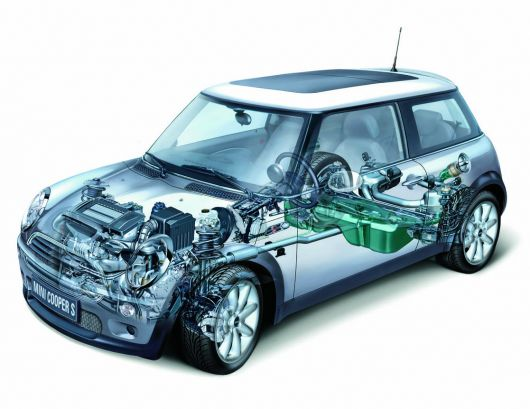 mini cooper s powertrain chassis cut away 02