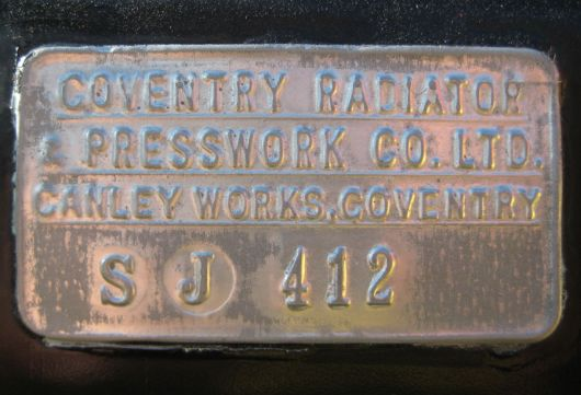 austin healy coventry radiator tag 57