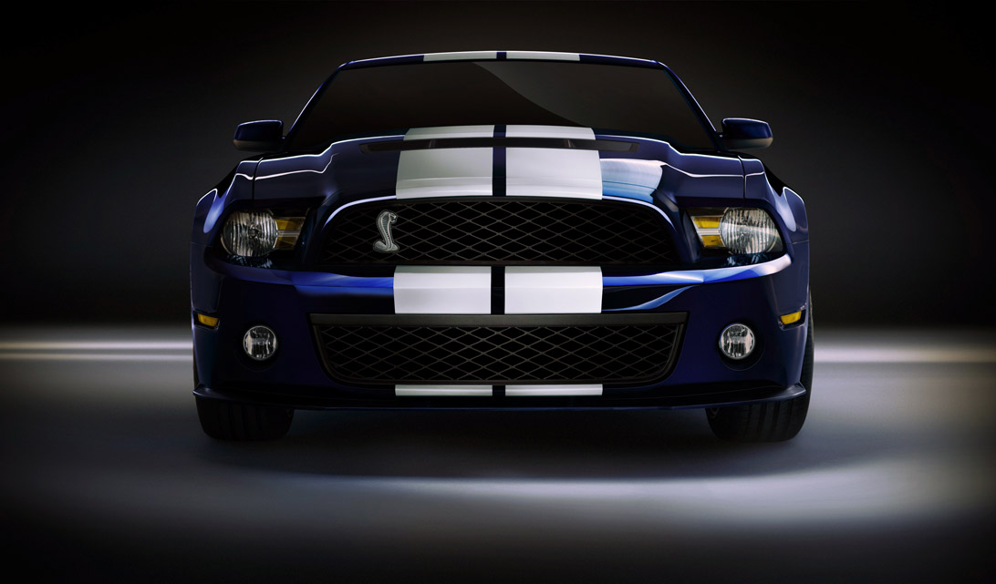 "2010 Ford Mustang Shelby GT500 front grill ""snake"" emblem."