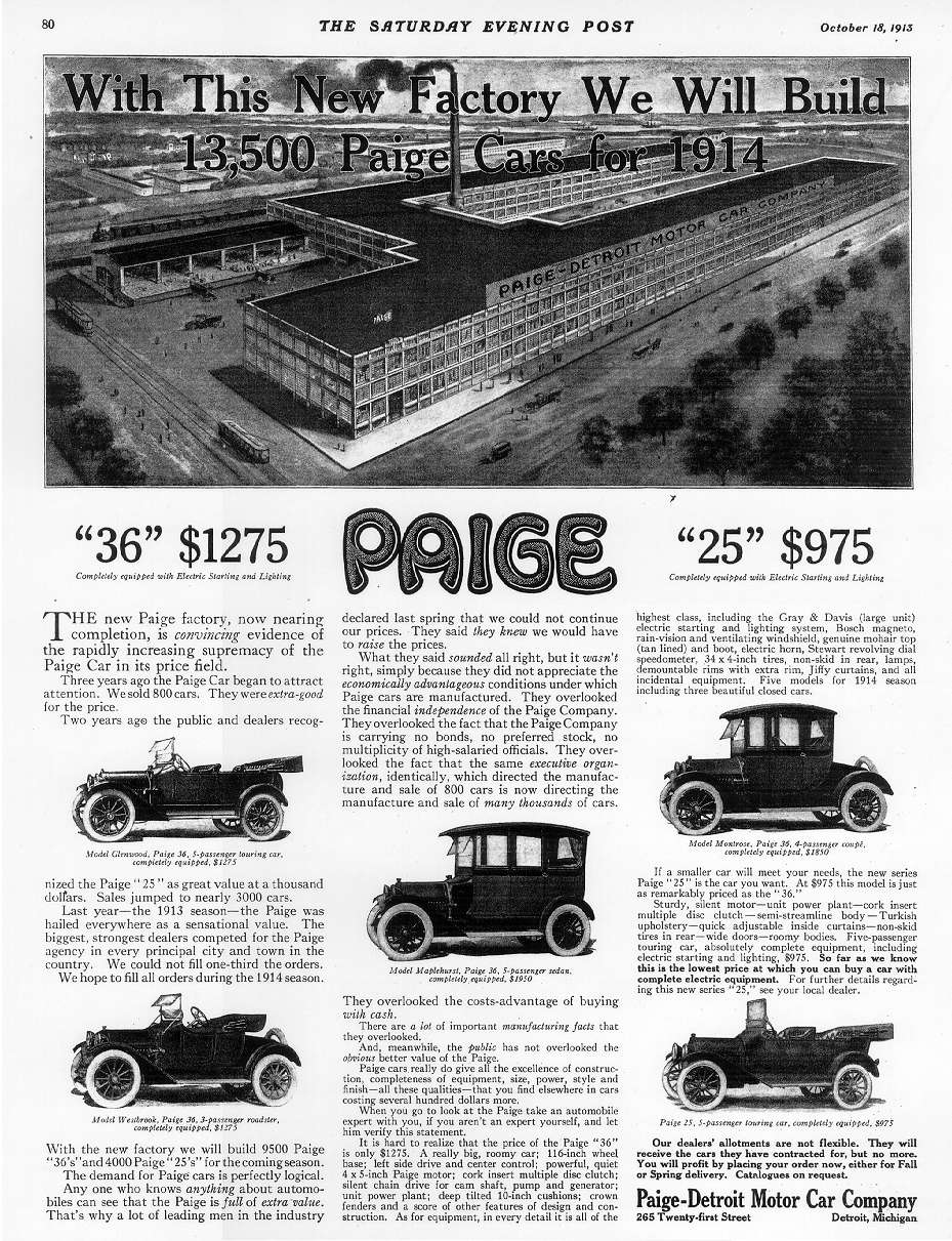 1914 Paige Glenwood ad with