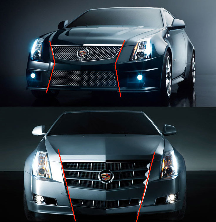 The CTS V Coupe front grill (top), and The CTS Coupe front grill