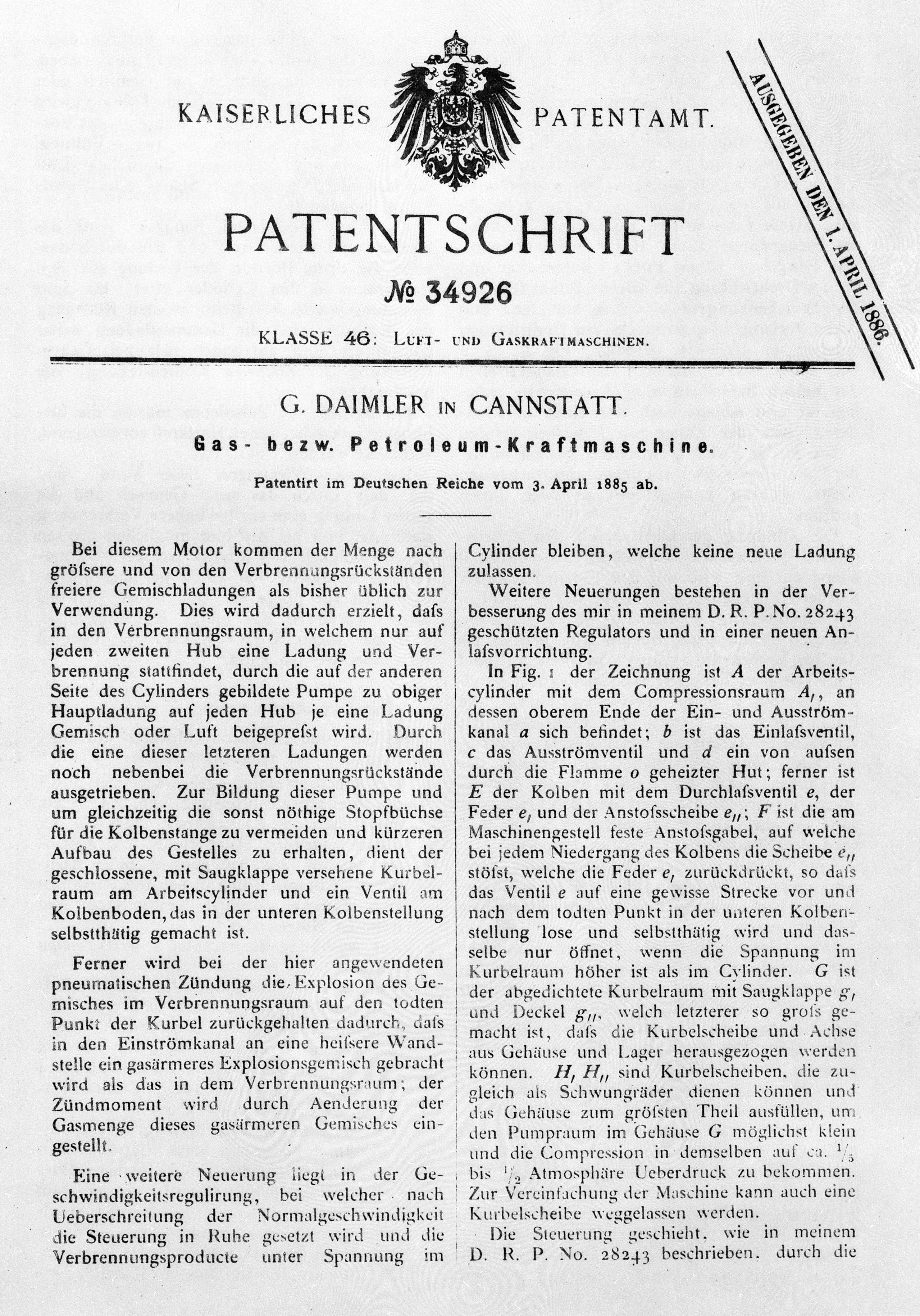 """Gottlieb Daimler applies for a patent for his """"grandfather"""