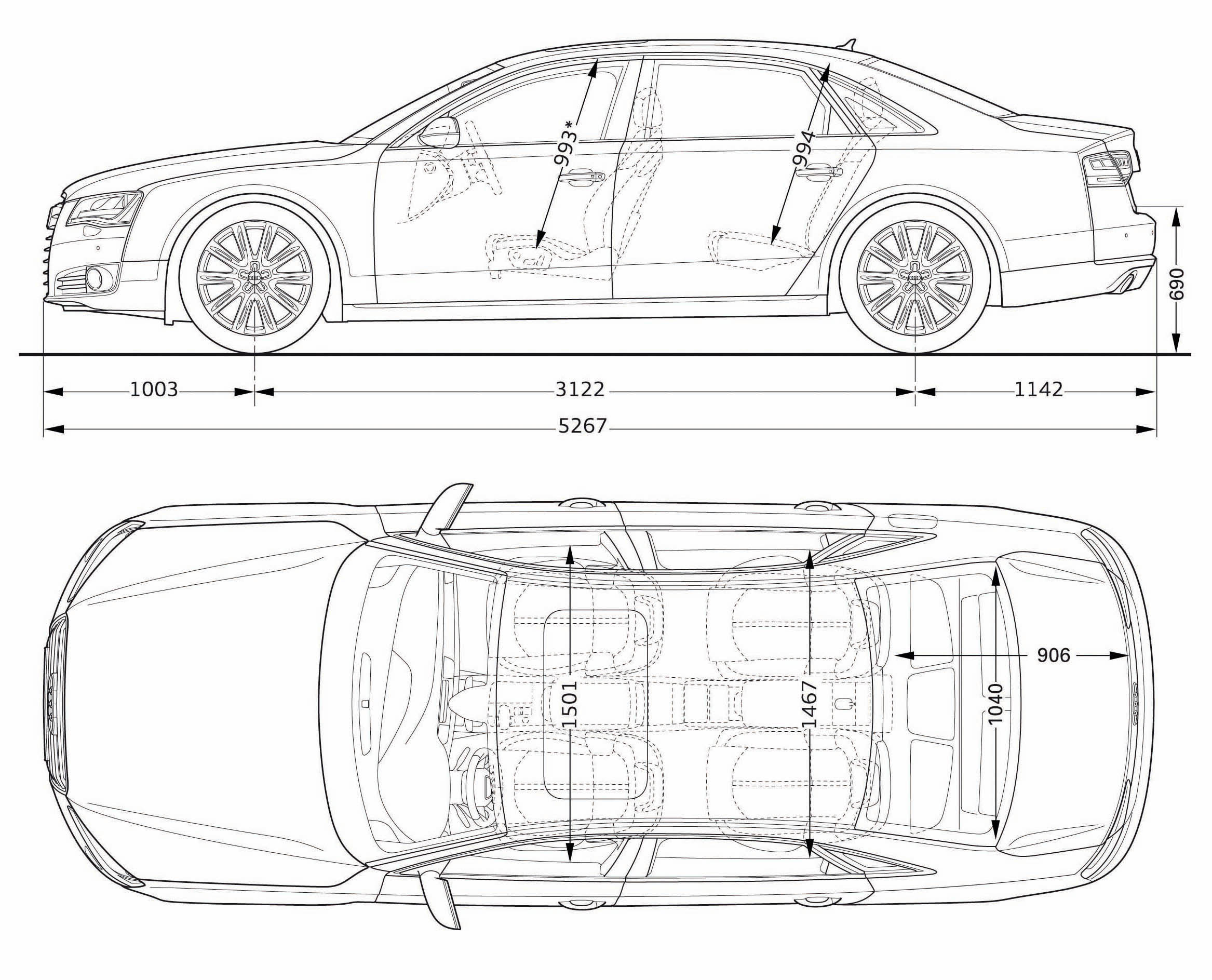 2011 Audi A8L side and top dimensions drawings.