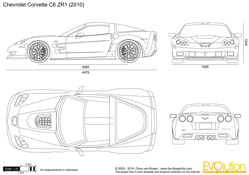Automotive blueprints cartype chevrolet corvette zr1 malvernweather Choice Image