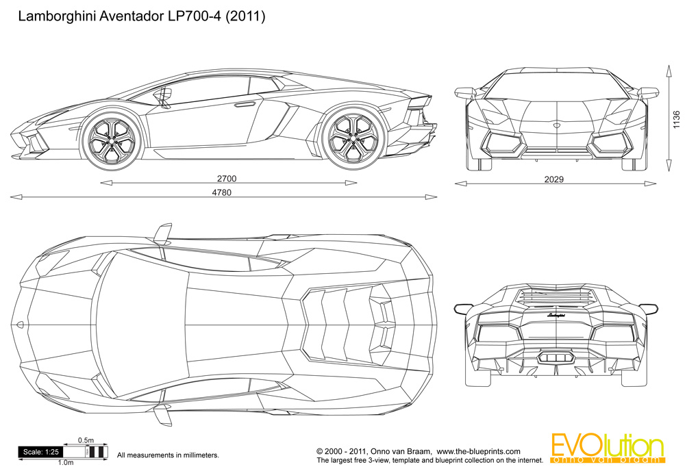 Automotive blueprints cartype lamborghini aventador lp700 4 malvernweather Gallery
