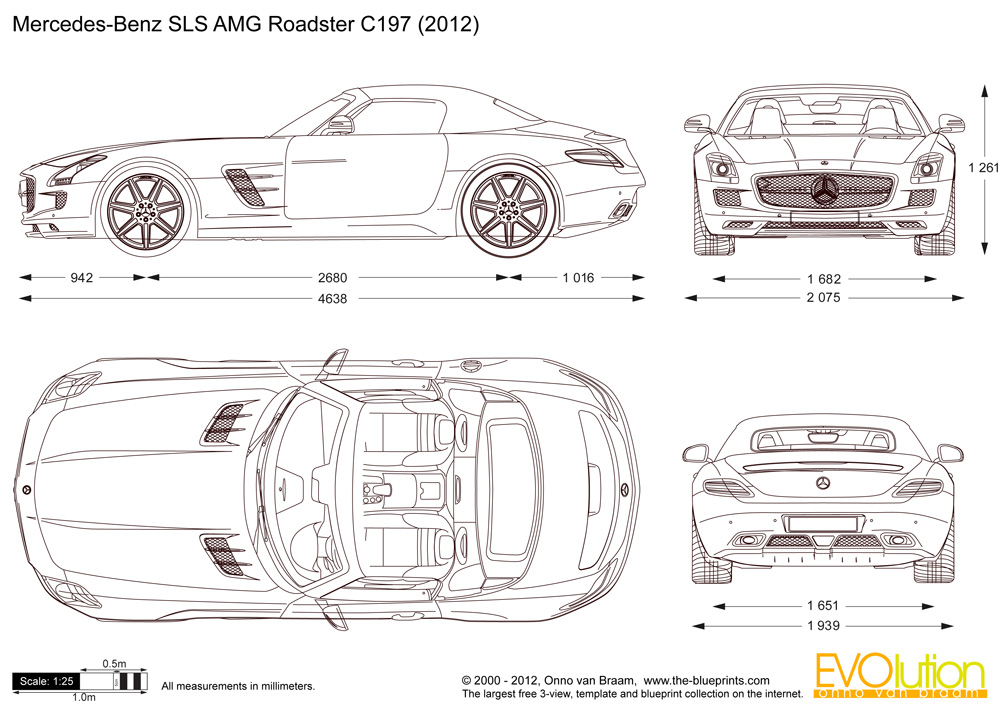 Automotive blueprints cartype mercedes benz sls amg roadster c197 malvernweather Image collections